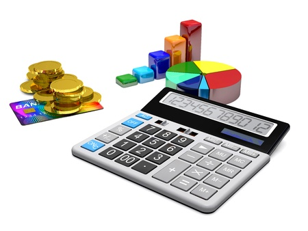 48085639 - calculator, money, credit cards and diagrams are on a white background.