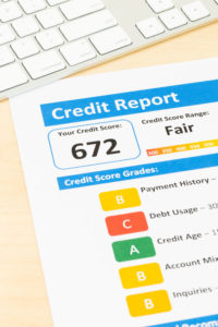 57740758 - fair credit score report with keyboard