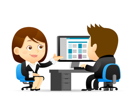 42423033 - vector illustration - buainessman and businesswoman at computer