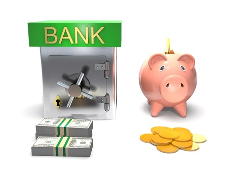 47272285 - safe, piggy bank, money are on white background.