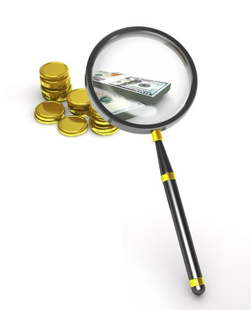 52193277 - magnifier, coins and banknotes on white background.