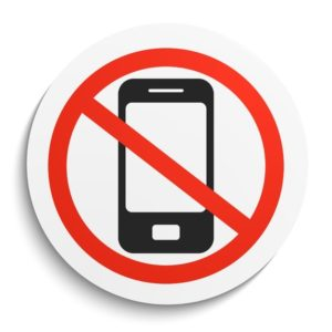 53181980 - no phone prohibition sign on white round plate. no smartphonel forbidden symbol. no smartphone vector illustration on white background