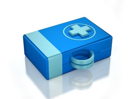 5552362 - 3d blue first aid kit with white background