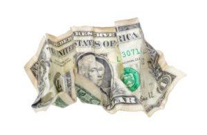 5556461 - one wrinkled dollar isolated on white background